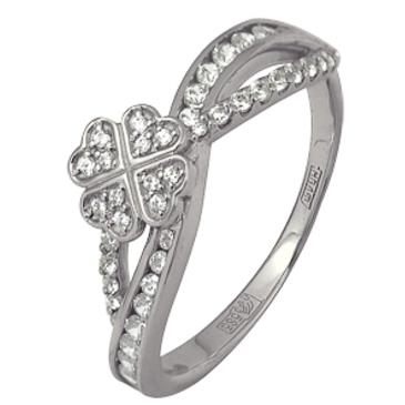 кольцо c фианитами из белого золота 13028522