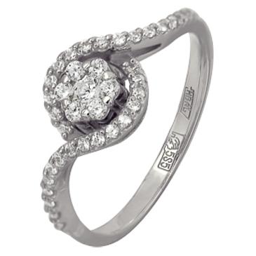 кольцо c фианитами из белого золота 13028554