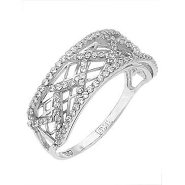 кольцо c фианитами из белого золота 13027313