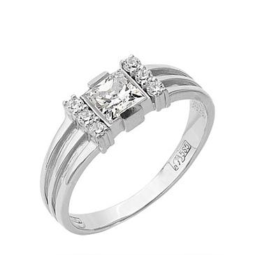 кольцо c фианитами из белого золота 13027419