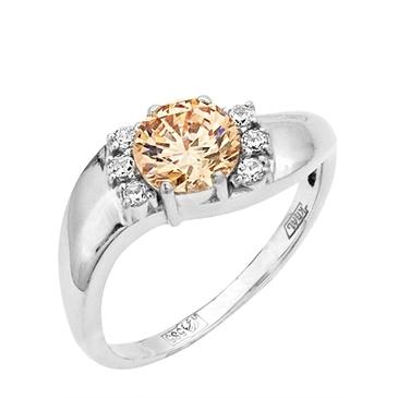 кольцо c фианитами из белого золота 13027435