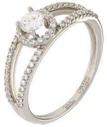 кольцо c фианитами из белого золота 13028552