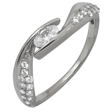 кольцо c фианитами из белого золота 1206101731Л