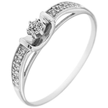кольцо c фианитами из белого золота 13023813