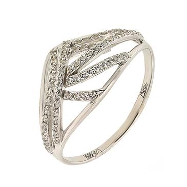 кольцо c фианитами из белого золота 13023814