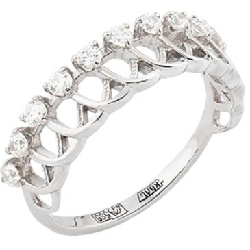 кольцо c фианитами из белого золота 13027212