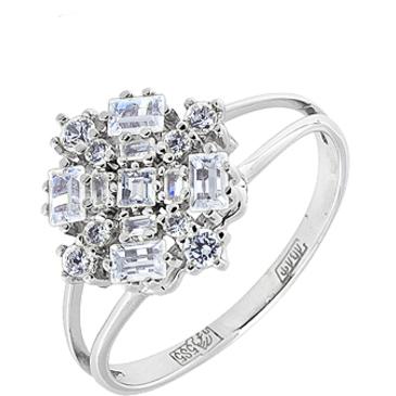 кольцо c фианитами из белого золота 13027289