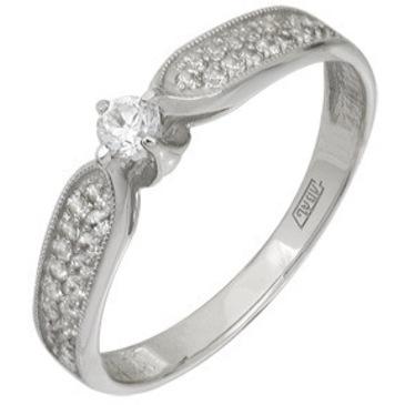 кольцо c фианитами из белого золота 13028033