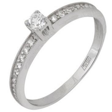 кольцо c фианитами из белого золота 13028034