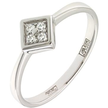 кольцо c фианитами из белого золота 13028066