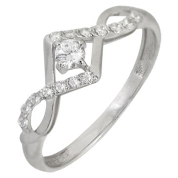 кольцо c фианитами из белого золота 13028089