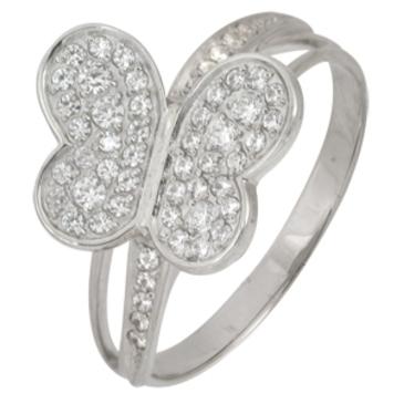 кольцо c фианитами из белого золота 13028091