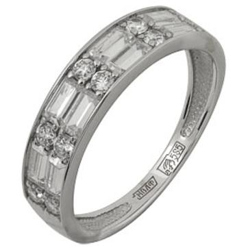 кольцо c фианитами из белого золота 13028162