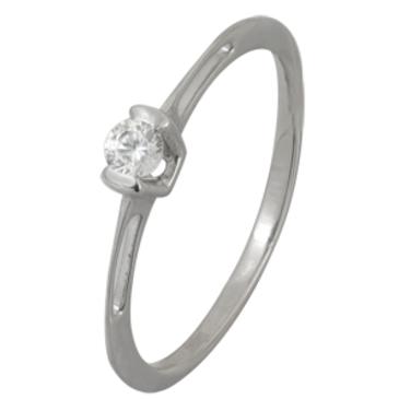 кольцо c фианитом из белого золота 13028088