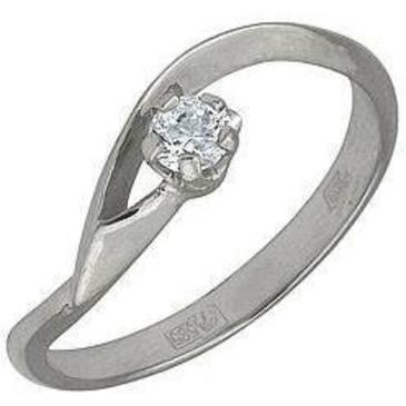 кольцо c фианитом из белого золота 13021084