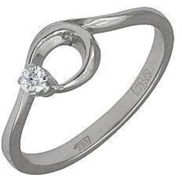 кольцо c фианитом из белого золота 13021412