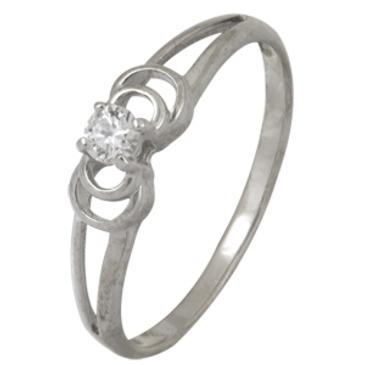 кольцо c фианитом из белого золота 13028087