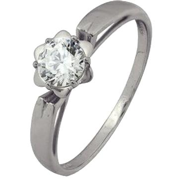 кольцо c фианитом из белого золота 1206102114