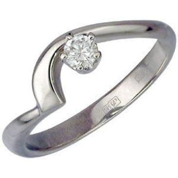 кольцо c фианитом из белого золота 13021088