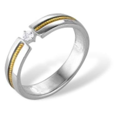 кольцо c фианитом из белого золота 72000058
