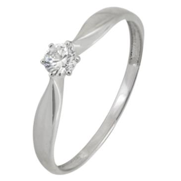 кольцо c фианитом из белого золота 13028050