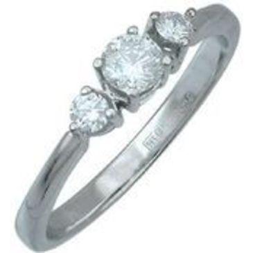 кольцо c фианитом из белого золота 13021548