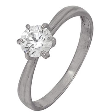 кольцо c фианитом из белого золота 1206102109