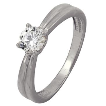 кольцо c фианитом из белого золота 1206102111
