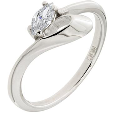 кольцо c фианитом из белого золота 13023285