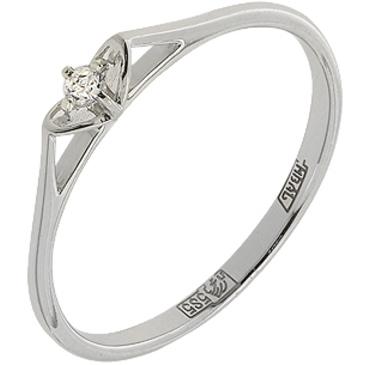 кольцо c фианитом из белого золота 13028052