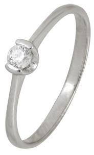 кольцо c фианитом из белого золота 13028053