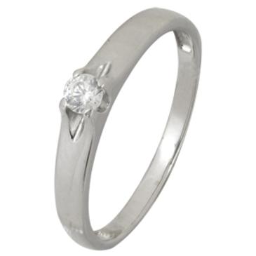 кольцо c фианитом из белого золота 13028055