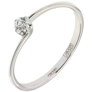 кольцо c фианитом из белого золота 13028125
