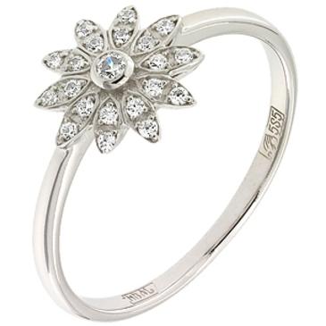 кольцо Цветок c фианитами из белого золота 13028123