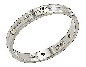 Кольцо обручальное с фианитами из белого золота 79407
