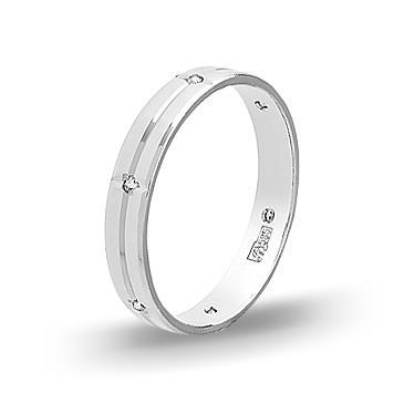 Кольцо обручальное с фианитом 4мм из белого золота 96594