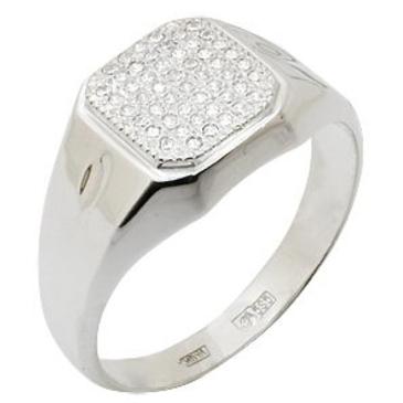 кольцо-печатка мужское c фианитами из белого золота 1302010-1