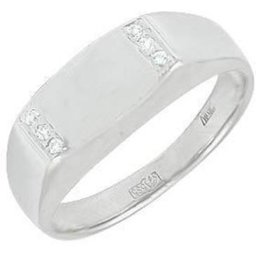 кольцо-печатка мужское c фианитами из белого золота 1302026