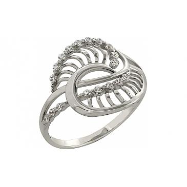 Кольцо с фианитами из белого золота 98863