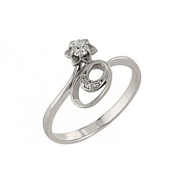 Кольцо с фианитом из белого золота 97174