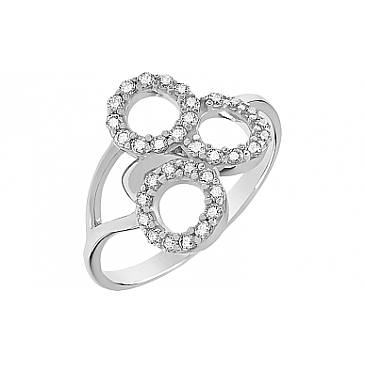 Кольцо с фианитом из белого золота 81489