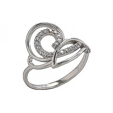 Кольцо с фианитом из белого золота 70356