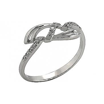 Кольцо с фианитом из белого золота 76253