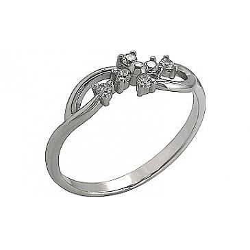 Кольцо с фианитом из белого золота 76256