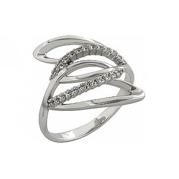 Кольцо с фианитом из белого золота 81439