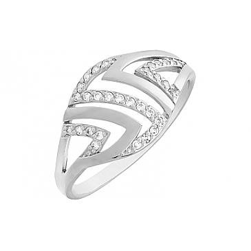 Кольцо с фианитом из белого золота 80284