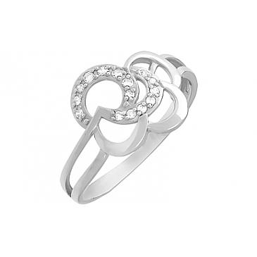 Кольцо с фианитом из белого золота 80286