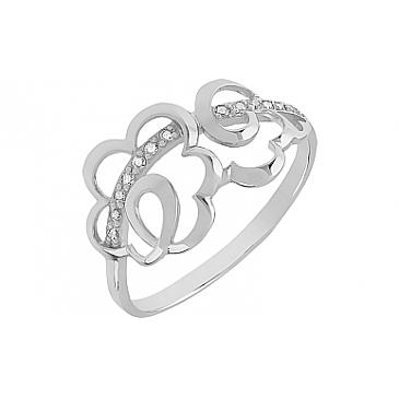 Кольцо с фианитом из белого золота 79482