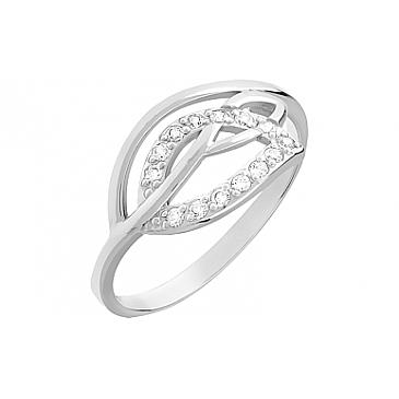 Кольцо с фианитом из белого золота 81418