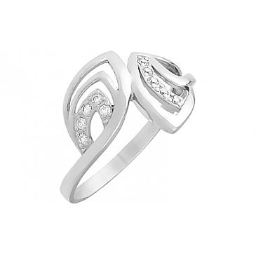 Кольцо с фианитом из белого золота 81438